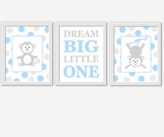 Monkey baby boy nursery wall art blue gray monkeys dream big little one polka dots baby boy decor Nursery Canvas Art, Baby Girl Nursery Decor, Boy Decor, Baby Boy Nurseries, Nursery Prints, Nursery Room, Nursery Ideas, Room Ideas, Baby Girl Elephant