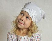 Girl headscarf summer Toddler bandana Baby girl hairwrap sun protection white cotton jersey flower decor