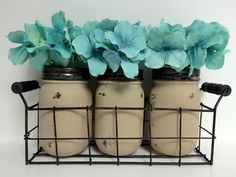 A personal favorite from my Etsy shop https://www.etsy.com/listing/249874130/wire-basket-with-set-of-3-jars-painted