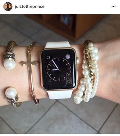 Gold Apple Watch gen with bracelets. Cute with pearls and gold with the off white sports band it came with. Apple Watch 38mm, Gold Apple Watch, Apple Watch Iphone, Apple Watch Series 1, White Apple Watch Band, Apple Watch Bracelets, Bracelet Watch, Gold Bracelets, Apple Watch Accessories
