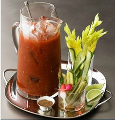 Bloody Mary Pitcher.  32 oz of Zing Zang Bloody Mary Mix, 1 1/2 cups Vodka. Garnishes: Celery, olives, beans, lime, horseradish, Worcestershire sauce, mini pickles  Combine Bloody Mary mix and vodka in a pitcher with ice. Set out glasses, ice and garnishes. Let your guests make their own.