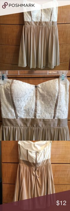 Fun white lace & tan strapless mini dress This dress is super cute and is in great shape  looks brand new. Needs a loving home :) Charlotte Russe Dresses Strapless