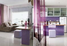 cozinha integrada lilás