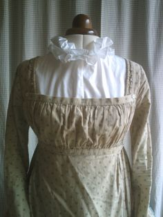 Regency chemisette made to order with double ruffled collar in dotted voile or cotton lawn