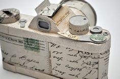 faux camera made using recycled envelopes, paper, and postcards