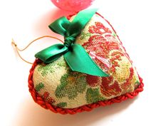 Fancy brocade heart ornament