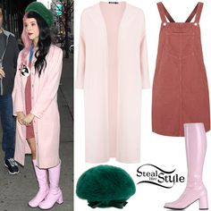 Melanie Martinez was spotted out and about in New York City wearing a Topshop Dusty Pink Cord Pinafore Dress (Sold Out), a custom-made coat similar to this from Boohoo ($30.00 – pictured), a Vintage Kangol Design Fur Beret Cap (Sold Out) and Funtasma by Pleaser Gogo-300 Boots ($43.23).