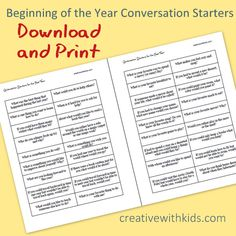 printable conversation starters for families Conversation Starters For Kids, Conversation Topics, Counseling Activities, Group Activities, Therapy Tools, Art Therapy, Social Skills, Social Work, Family Therapy