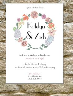 Purple and pink wedding invitations for a Garden wedding or Rustic Chic wedding