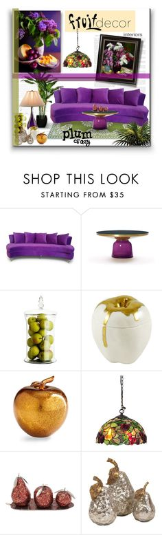 """Plum Crazy"" by signaturenails-dstanley ❤ liked on Polyvore featuring interior, interiors, interior design, home, home decor, interior decorating, Eichholtz, Cyan Design and fruitdecor"