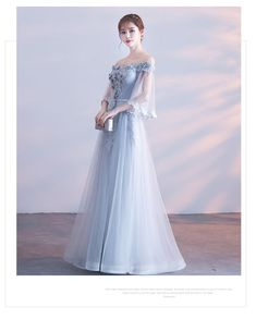 Banquet evening dress long section 2018 new winter host dress slim elegant gray word shoulder bridesmaid dress female Party Wear Dresses, Prom Dresses Blue, Trendy Dresses, Modest Dresses, Homecoming Dresses, Fashion Dresses, Sequin Evening Gowns, Formal Evening Dresses, Tumblr Outfits