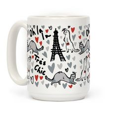 Ferrets are chic, slinky and oh so fashionable! If you are a fan of ferrets, fashion and France, this cute, ferret coffee mug, will fit perfectly with your fashionable french style!