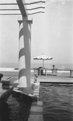 Renee at the Pool of the Chambre d'Amour, Biarritz by Jacques Henri Lartigue