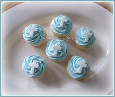 baptism cupcakes for boys | boy baptism cupcakes cupcakes to go along with the white and blue ...