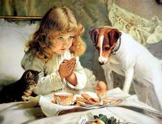 9x6 BARBER Print Victorian Girl Praying Jack Russell Terrier Dog & Cat Watching #Realism