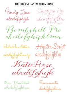I have and love Emily Lime, Bombshell Pro and HaloHandletter!! Love fonts!      works of heart by pat: The Prettiest Handwritten Fonts
