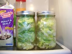 Keep Lettuck in mason jars in your fridge. IT WORKS!  I bought this lettuce for tacos on January 2. Plans changed and I washed and dried it good in my salad spinner and put it in these jars. January 16th and I took some out and I swear it looks and tastes just like when I put it in. Great for carrots & celery also.