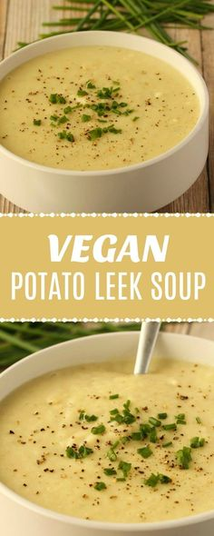 Creamy and delicious vegan potato leek soup! This hearty and comforting meal can… Creamy and delicious vegan potato leek soup! This hearty and comforting meal can be either an appetizer or an entrée – it's filling, satisfying and will have you coming back Potato And Leak Soup, Vegan Potato Leek Soup, Healthy Potato Soup, Vegan French Onion Soup, Delicious Vegan Recipes, Vegetarian Recipes, Healthy Recipes, Leek Recipes, Vegan Recipes Leeks