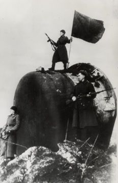 Unknown - Flying a Russian Flag Over a German Fort, 1945 Soviet Army, German, Flag, Darth Vader, Fictional Characters, Deutsch, German Language, Science, Fantasy Characters