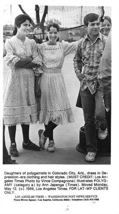 Colorado City, 1986 I want more FLDS pics from the 1980s because the fashion was ON. POINT. Id wear either of those prairie dress/velcro shoes combos right now their hair isnt big but I respect that, big hair was popular at the time and theyre just rejecting status quo like all cool kids do via ebay
