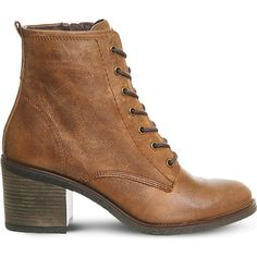 OFFICE Latch leather ankle boots (810 ZAR) ❤ liked on Polyvore featuring shoes, boots, ankle booties, laced ankle boots, bootie boots, short lace up boots, lace up ankle booties and leather upper boots