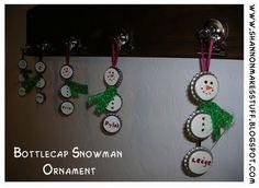 Snowman Bottlecap Ornaments