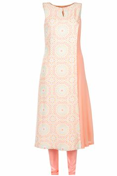 Peach kurta with printed overlap and embroidered scraf available only at Pernia's Pop-Up Shop.