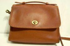 COACH Court Vintage 80s 90s British Tan Leather Crossbody Satchel Flap Purse Bag
