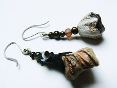 eggshell gypsy porcelain beads earrings with sterling silver hooks and glass beads