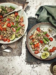 quinoa and lentil salad with asparagus, mint and haloumi via What Katie Ate