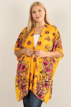 Made In U.S.A 1XL.2XL.3XL Plus size floral print kimono with asymmetric hem, open front, and dolman sleeves 98% Polyester 2% Spandex Mustard HAU Plus Size Floral Print Kimono Kimono Cardigan, Kimono Top, Floral Kimono, Long Sleeve Mini Dress, Long Sleeve Bodysuit, Plus Size Tops, Stripe Print, Floral Prints, How To Wear