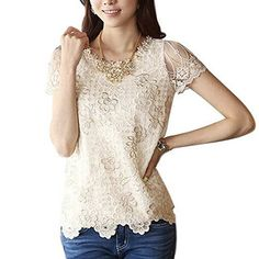 Womens Bead Print Short Sleeve Shirt >>> More info could be found at the image url.Note:It is affiliate link to Amazon. #followme