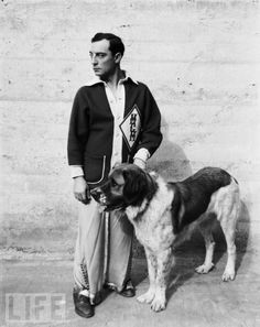 Buster Keaton with his dog, 1930.