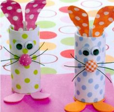 easter bunny made out of toilet paper roll - How cute are these?