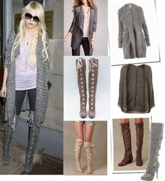 Love the boots and oversized cardigans. Fall and Winter must-have!