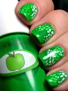 The Nail Junkie Green Apple stampwich jelly sandwich stamping