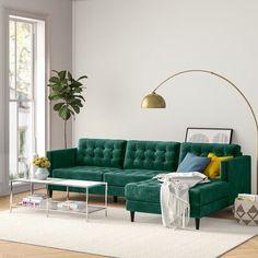 Living Room Green, Home Living Room, Living Room Designs, Sofa Furniture, Sofa Design, Teal Couch, Dark Green Couches, Green Couch Decor, Velvet Green Couch