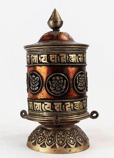 Buddhist Prayer Wheel, Tabletop Prayer Wheel, Auspicious Symbols
