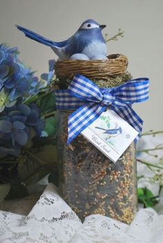 Birdseed jar gift..Perfect for the bird lovers