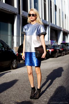 Metallic style: blue fade #streetstyle #metallic #blues #shine #fashion #style