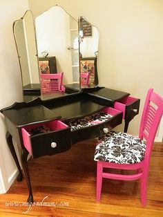 Black and pink dresser and chair. I would love to do something like this to my vanity!