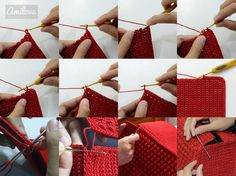 Red Bobble Stitch Hand Bag