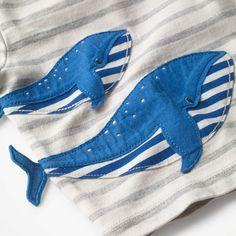 BuyMini Boden Baby Whale 아플리케 스트라이프 티셔츠, 아이보리, 0-3 개월 온라인 johnlewis.com