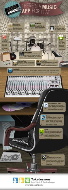 Forget Angry Birds – when you need to kill some time, music apps are a great way to listen, learn, practice and play even when you don't have your instrument! Check out the infographic … Piano Lessons, Music Lessons, Apps, Music Bulletin Boards, Middle School Music, Local Music, Music Sites, Teaching Technology, Singing Lessons