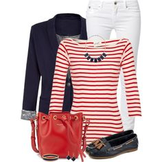 Nautical Look by daiscat on Polyvore featuring moda, Edith A. Miller, Brave Soul, Kaporal, Sperry Top-Sider, Yves Saint Laurent, Dorothy Perkins and Halcyon Days