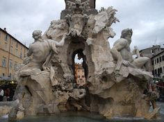 Fountain of the Four Rivers (Pope Innocenzo X commissioned Gianlorenzo Bernini in 1651 to create this monumental fountain, which would adorn the piazza in front of the family palace.) - Rome, Italy