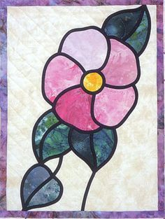Stained Glass Flower Garden from Brenda Henning's Bear Paw Productions Stained Glass Suncatchers, Faux Stained Glass, Stained Glass Designs, Stained Glass Panels, Stained Glass Projects, Stained Glass Patterns, Stained Glass Quilt, Stained Glass Flowers, Art Deco Tiles