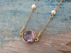 Purple pink amethyst necklace Gold amethyst by EllaKateJewelry