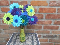 PEACOCK Gerber Daisy Paper Flower Bouquet. Or You by TreeTownPaper, $65.00