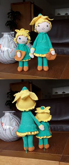Crochet Daffodil Nancy mother and daughter flower doll - Crochet pattern by Zabbez